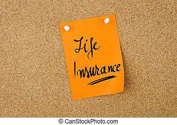 forsikring liv, skriv, på, appelsin, avis noter