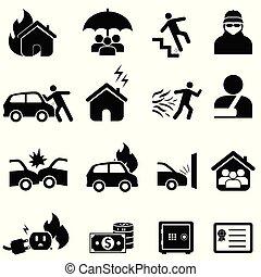 forsikring, og, katastrofe, ikon, sæt