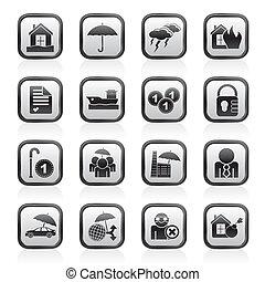 forsikring, og, risiko, iconerne