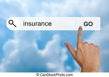 forsikring, på, søgen, toolbar