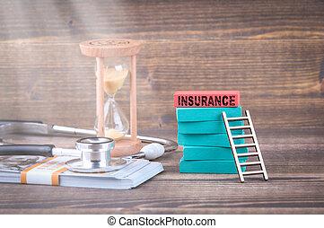 forsikring, sundhed omsorg, afgangen, ælde, begreb