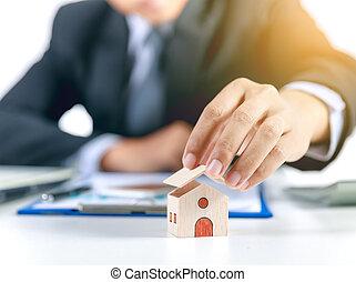 forsikring til hjem, begreb, hos, forretningsmand