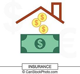 forsikring til hjem, begreb, illustration
