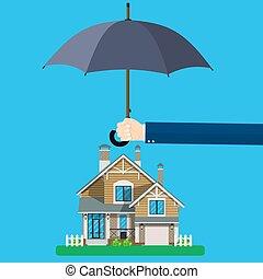 forsikring til hjem, concept.