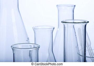 forsk laboratorium., sorteret, glassware