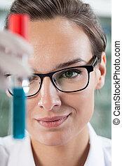 forskare, analysering, provrör