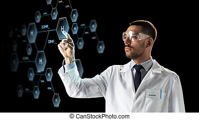 forskare, in, goggles, med, kemisk, formel