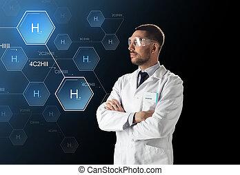 forskare, in, labb, goggles, kemisk, formel