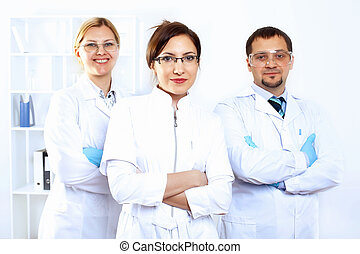 forskare, in, laboratorium