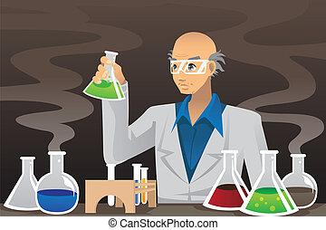 forskare, labb
