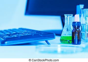 forskare, med, utrustning, laboratorium, för, vetenskap, concept.