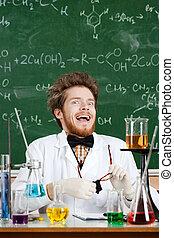 forskare, skratt, madly