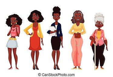 forskellige, ælder, ungdom, modenhed, sort, kvinder