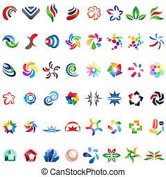 forskellige, 48, farverig, 3), vektor, icons:, (set