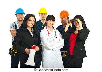 forskellige, arbejdere, folk