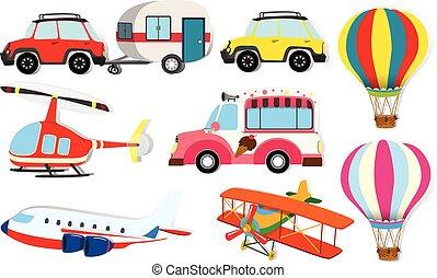 forskellige, art, i, transport
