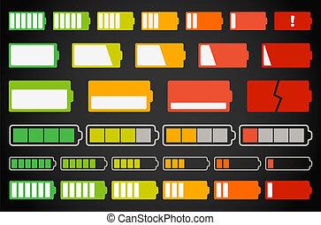 forskellige, batteri, indikatorer, samling