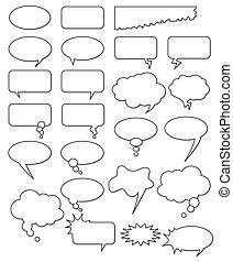 forskellige, comics, web., klippe, samling, eller, forme,...