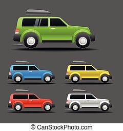 forskellige, farve, bilerne, vektor, illustration
