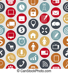 forskellige, finans, iconerne, kommunikation, seamless, branche illustration, vektor, mønster