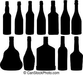 forskellige, flasker
