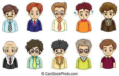 forskellige, forretningsmænd, ansigter