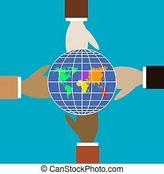forskellige, globe., fire, farver, hænder, greb
