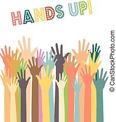 forskellige, hænder, farver, oppe