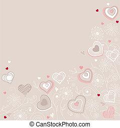 forskellige, hils, valentine, hjerter, kontur, card