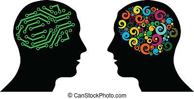 forskellige, hjerne, ind, hoveder