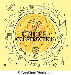 forskellige, iconerne, concept., konstruktion, tynd, under, included, beklæde