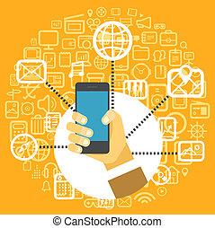 forskellige, ikoner begreb, moderne, techno, konstruktion, smartphone.