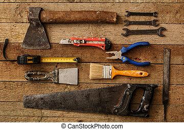 forskellige, industriel, redskaberne