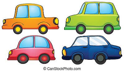 forskellige, konstruktioner, og, farver, i, en, transport