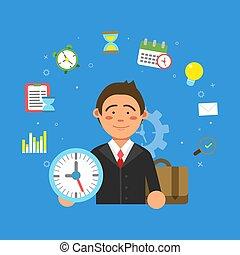forskellige, ledelse, productivitet, symboler, tid, forretningsmand