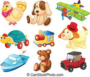 forskellige, legetøj