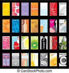 forskellige, opsætninger, besøg, vektor, cards
