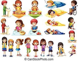 forskellige, rutiner, børn