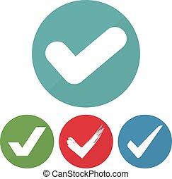forskellige, sæt, checkmark, illustration, vektor, circles., ikon