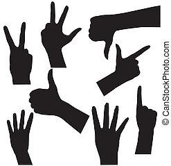 forskellige, sæt, samling, gestuser, hånd signalerer, vektor, menneske rækker, signs., ikon