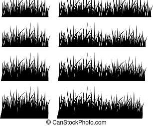 forskellige, sæt, silhuet, højde, sort, græs