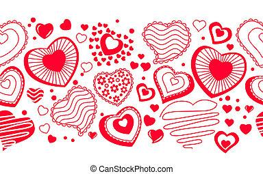 forskellige, seamless, hjerter, grænse, kontur, rød