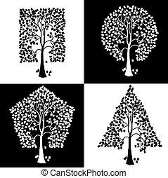 forskellige, shapes., geometriske, træer