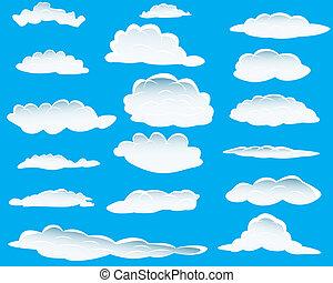 forskellige, skyer