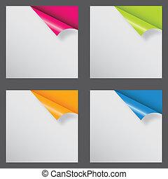 forskellige, text., illustration, vektor, sted, papirer, ...