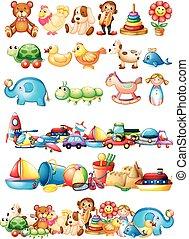 forskellige, typer, i, legetøj