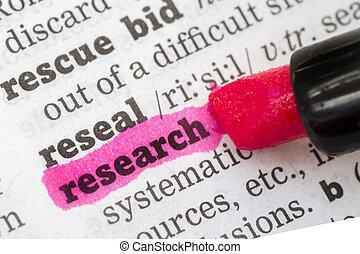 forskning, leksikon, definition