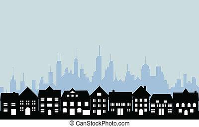 forstæder, og, urban, byen