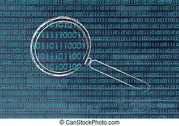 forstørrelses glas, på, binær kode, begreb, i, mønster, anerkendelsen