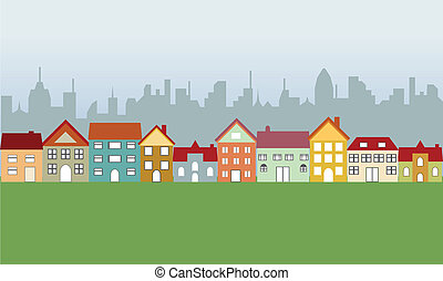 forstads, huse, og, byen